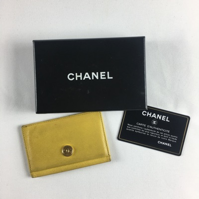 Chanel Yellow Leather Card Holder