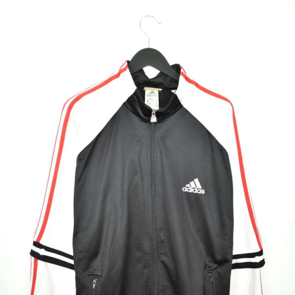 Vintage Adidas zip up tracksuit track jacket trackie sweater jumper sweatshirt pullover long sleeve in black white and red
