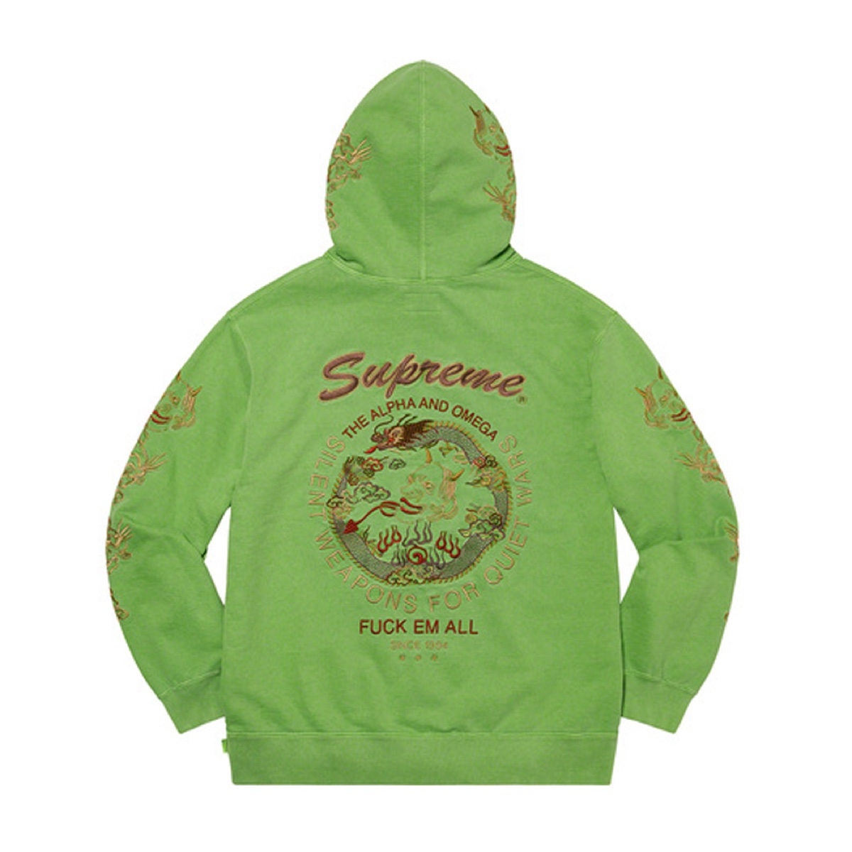 Supreme Dragon Overdyed Hooded Sweatshirt Lime