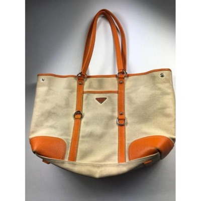 Prada Orange Tessuto Large Tote Shoulder Bag