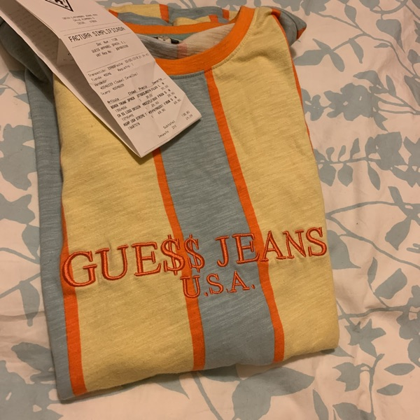Signed Asap Rocky X Guess Jeans Striped Tee Shirt