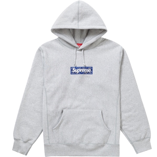 Supreme Bandana Box Logo Hooded Sweatshirt Grey
