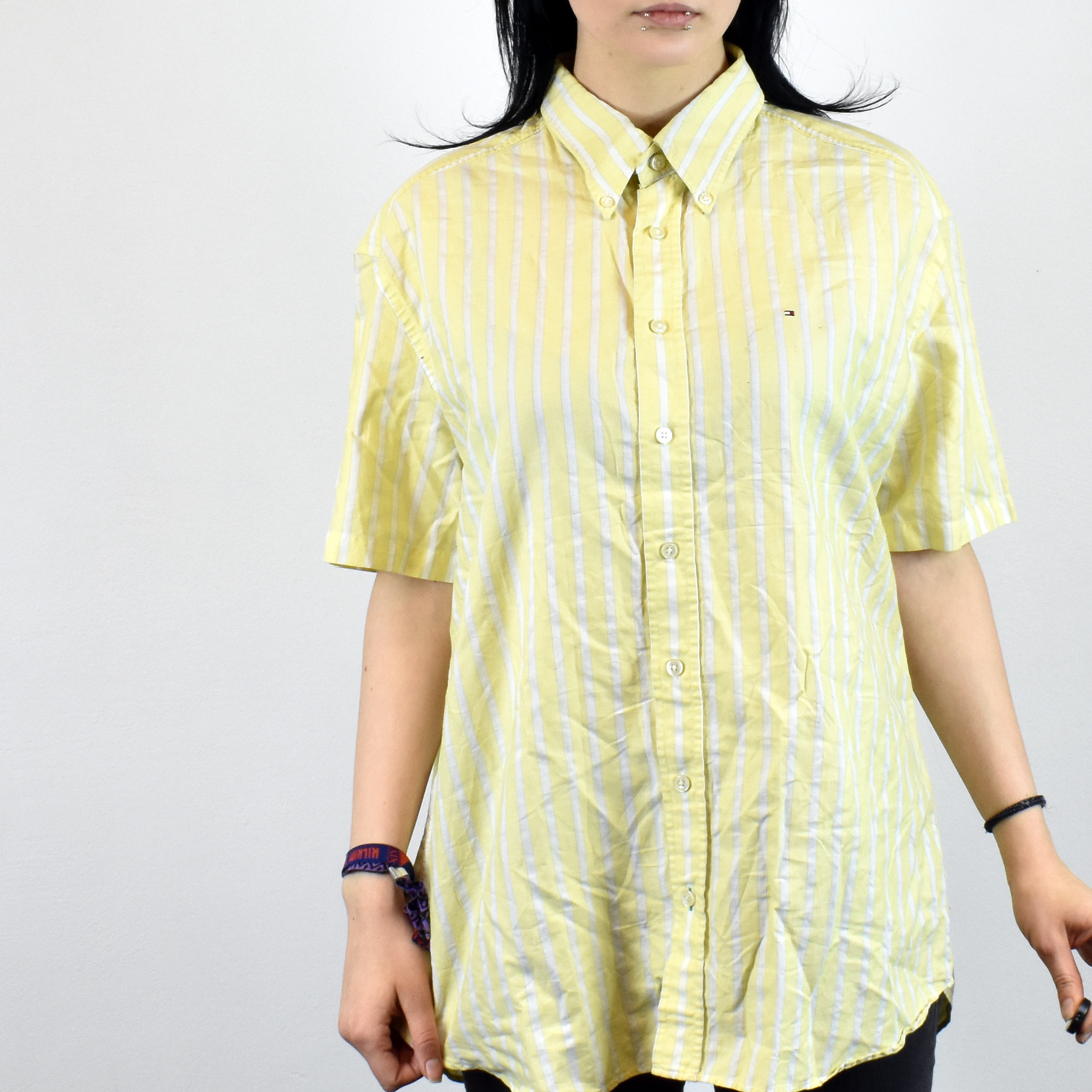 6ff33c08 Vintage Tommy Hilfiger striped shirt in yellow and white size M