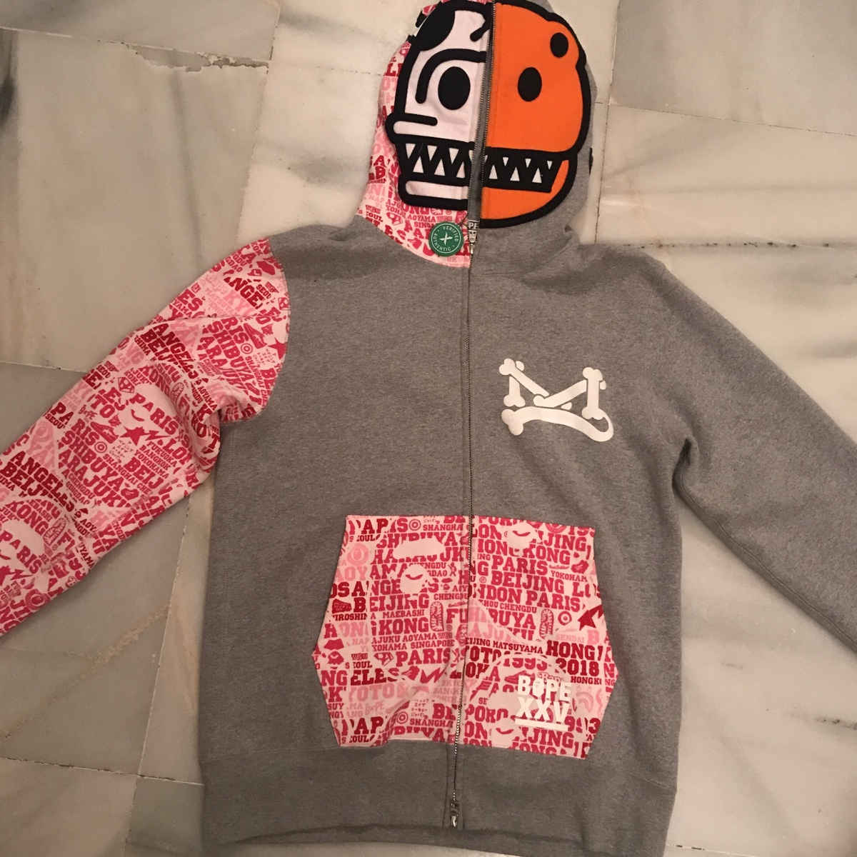 BAPE A Bathing Ape Full Zip Hoodie Grey