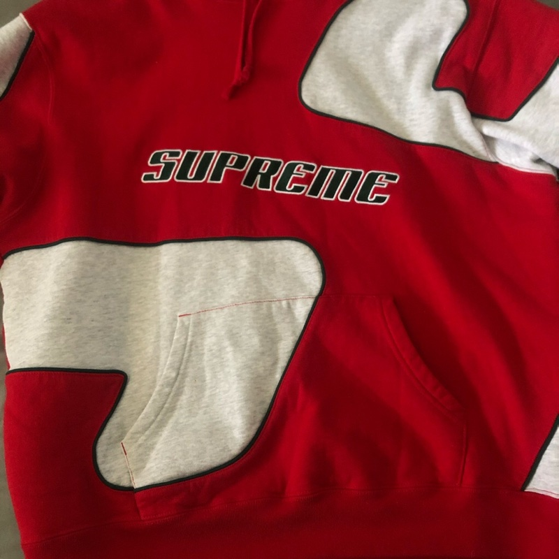 Supreme Big S Hooded Sweatshirt White/Red