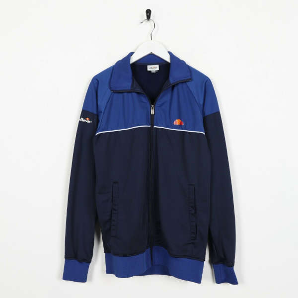 Vintage ELLESSE Small Logo Track Top Jacket Navy Blue small S