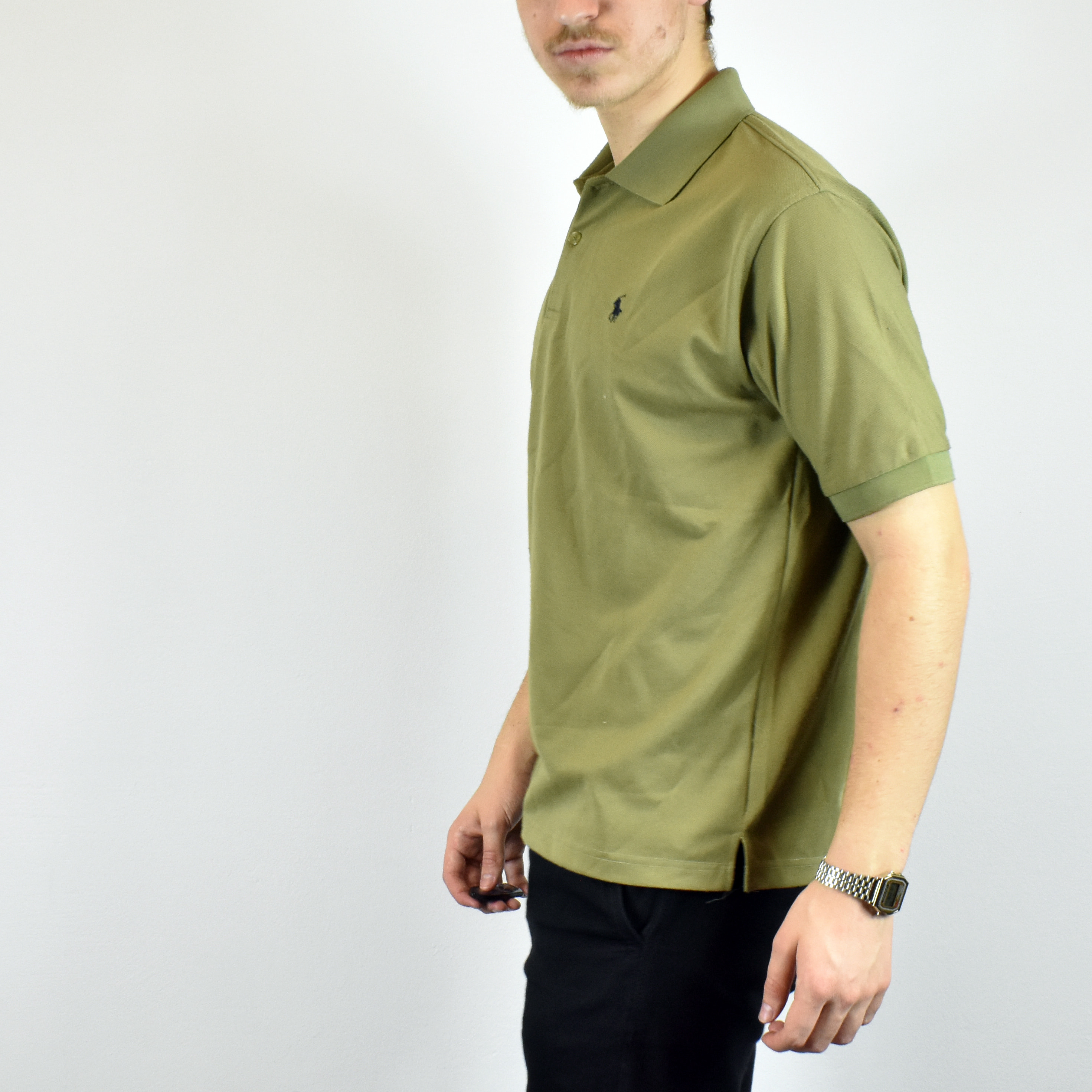 9ebab47d Unisex Vintage Ralph Lauren polo shirt in olive green has a logo on the  front size M