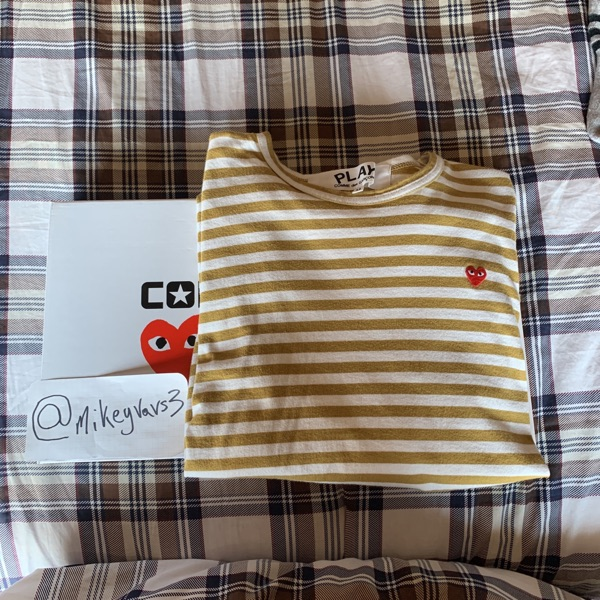 Cdg Little Redheart Striped Long Tee Yellow/White