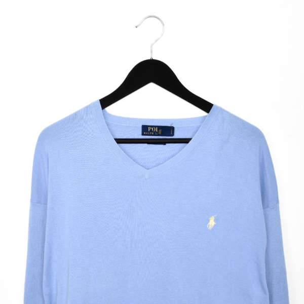Vintage Polo Ralph Lauren V-neck thin material longsleeve tee pullover sweater in baby blue