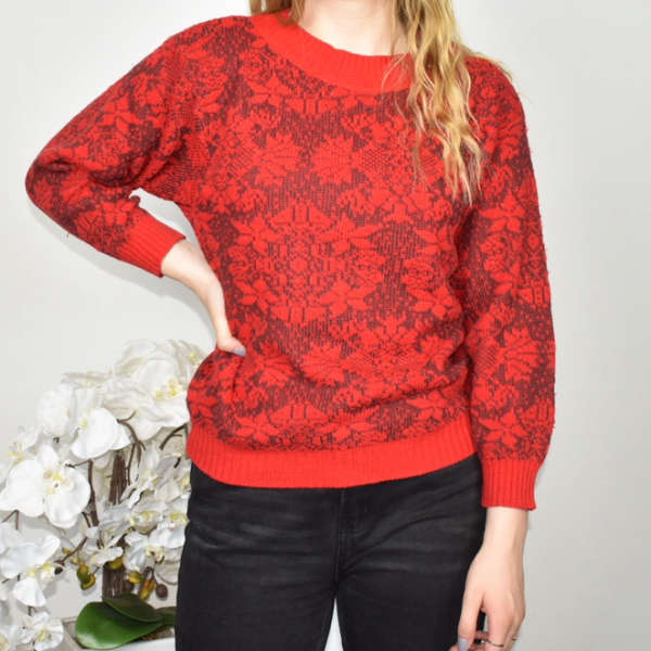 Vintage knitted sweatshirt jumper sweater top pullover in red