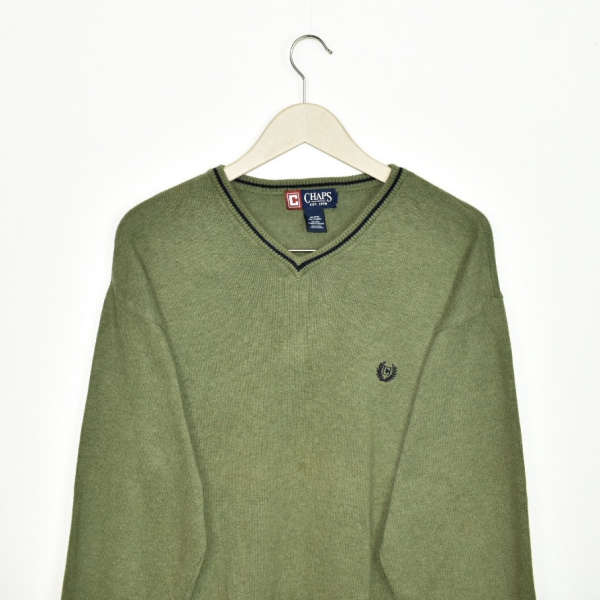 Vintage Chaps v neck sweater thin material longsleeve tee pullover sweatshirt in dark green