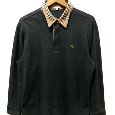 90'S Burberry London Nova Check Collar Long Sleeve