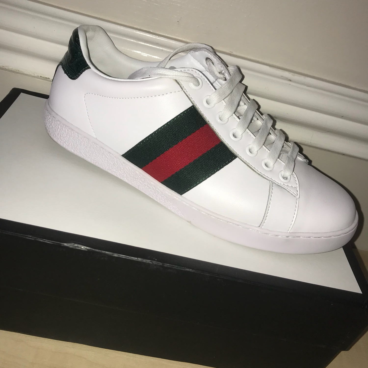 Gucci Ace Green Leather Trainers Men's