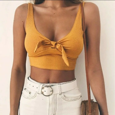 All Sizes Available Ribbed Bow Tie Camisole Girls Tank Tops Women Summer Basic Crop Top Streetwear Fashion Cool Girls Cropped Tees Camis