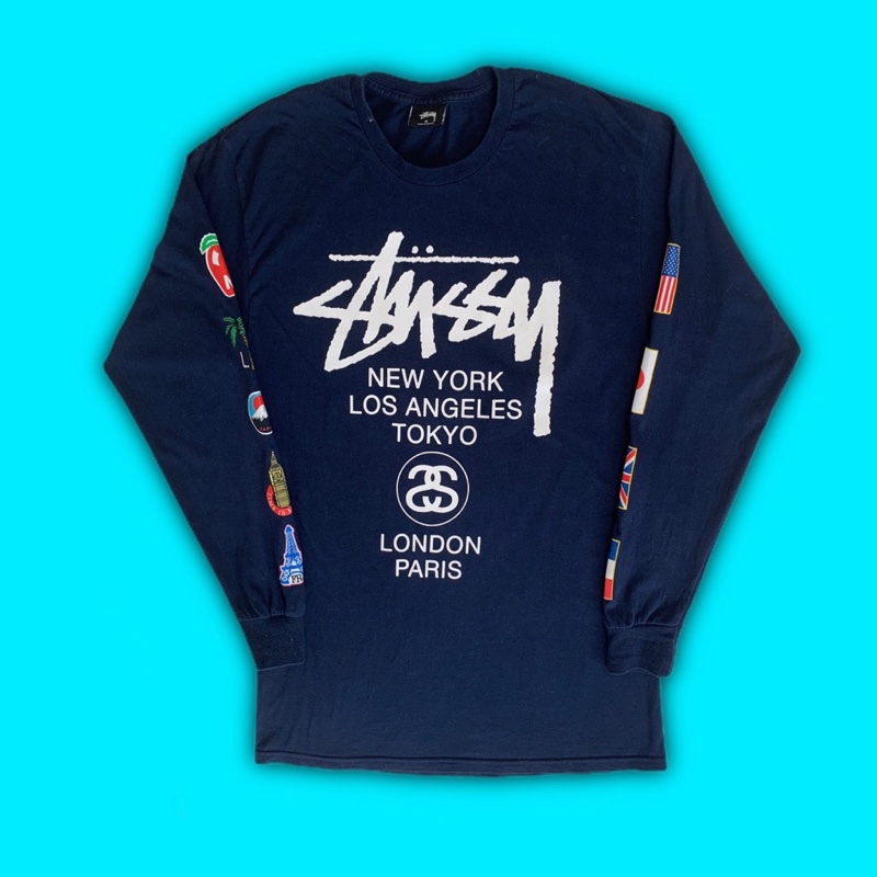 Navy Stussy World Tour Long Sleeve T Shirt LS tee