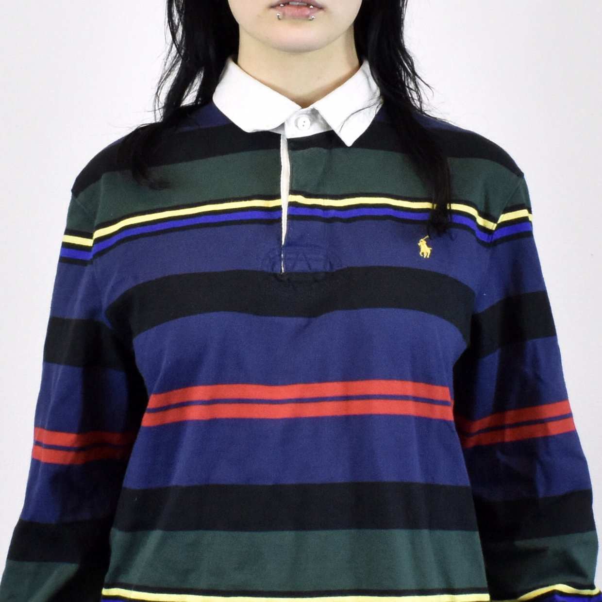 35c6559b Unisex Vintage Ralph Lauren long sleeved polo shirt in black, blue, green,  red size M