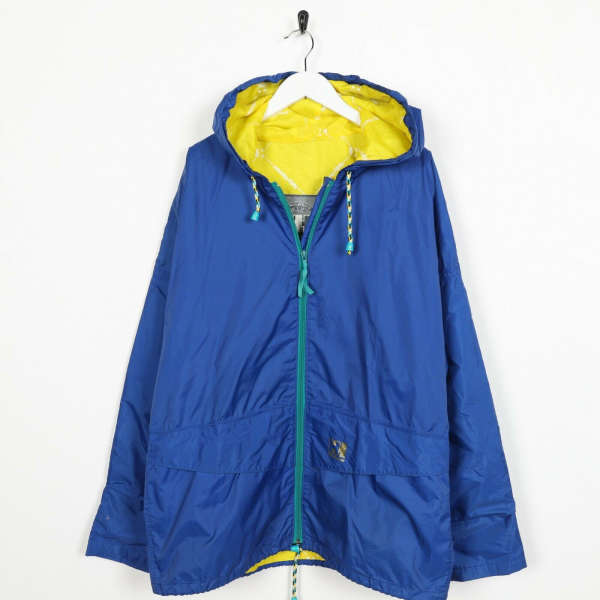 Vintage HELLY HANSEN Small Logo Lightweight Hooded Jacket Coat Blue small S