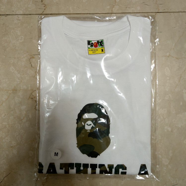 b150571e BAPE Happy New Year 1st Camo Tee White/Green