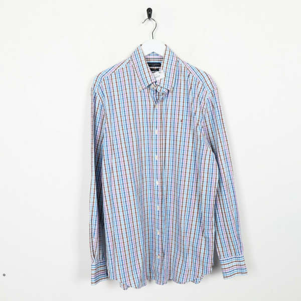 Vintage TOMMY HILFIGER Small Logo Check Long Sleeve Shirt Blue | XL