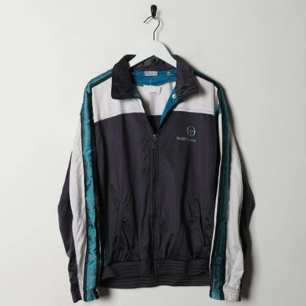Vintage 80s SERGIO TACCHINI Tape Arm Logo Tracksuit Top Jacket Grey | Small S