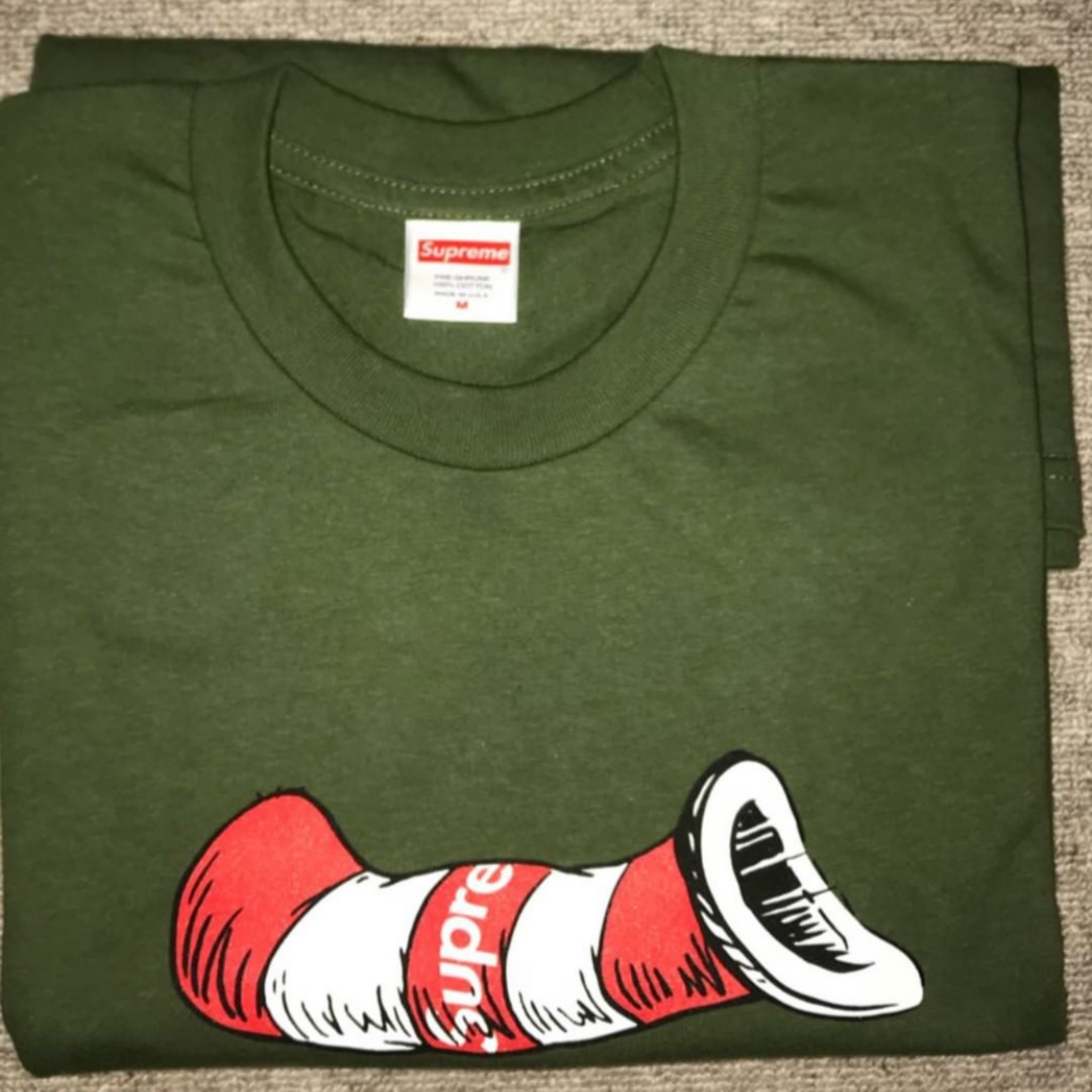 a23a0624 Supreme Cat In The Hat Tee Olive Medium