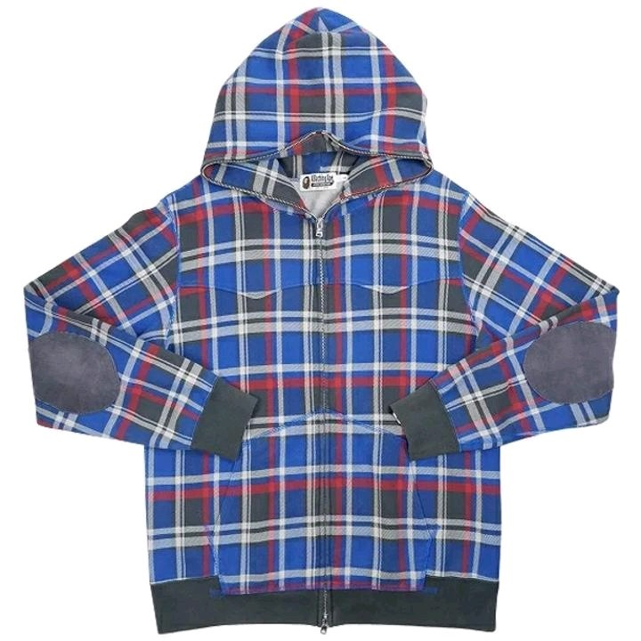 Bape Hoodies Blue Cotton Checkered Full Zip