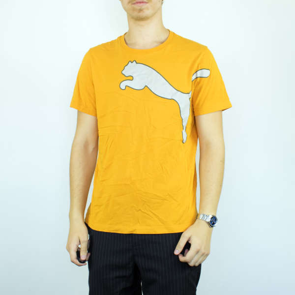 Vintage Puma t-shirt top blouse tee in yellow