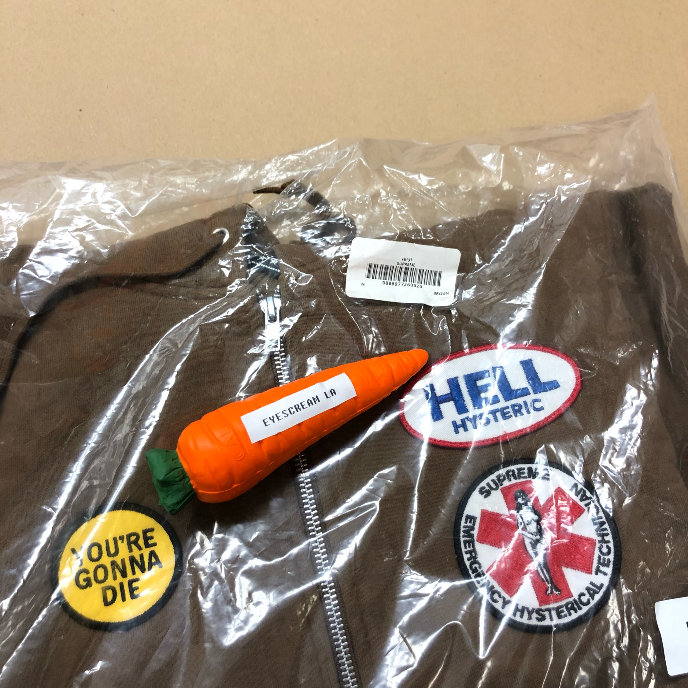 Ds Supreme X Hysteric Brown Patch Hoodie M