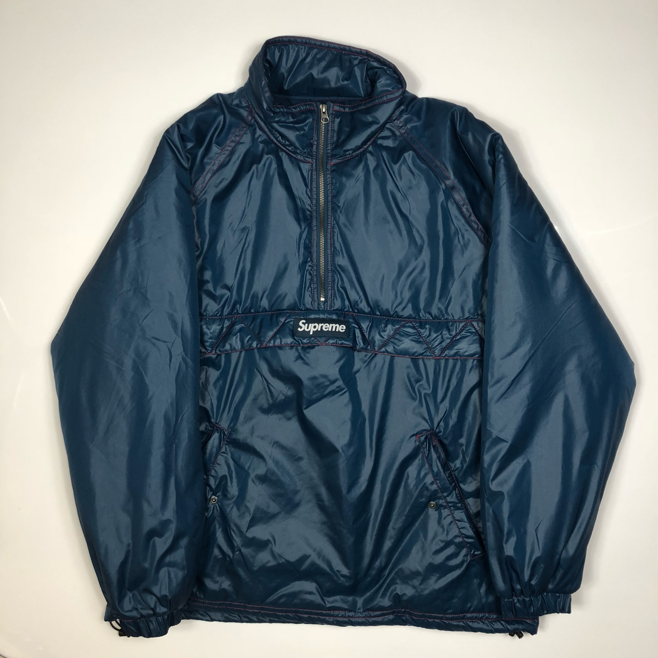 7591a586a93b Supreme Twill Contrast Pullover Puffer Jacket New