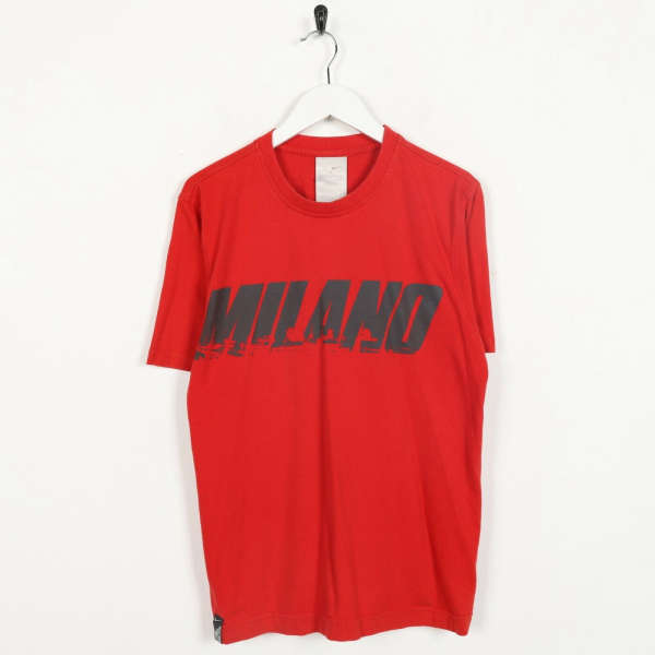 Vintage NIKE MILANO Big Spell Out T Shirt Tee Red | Small S