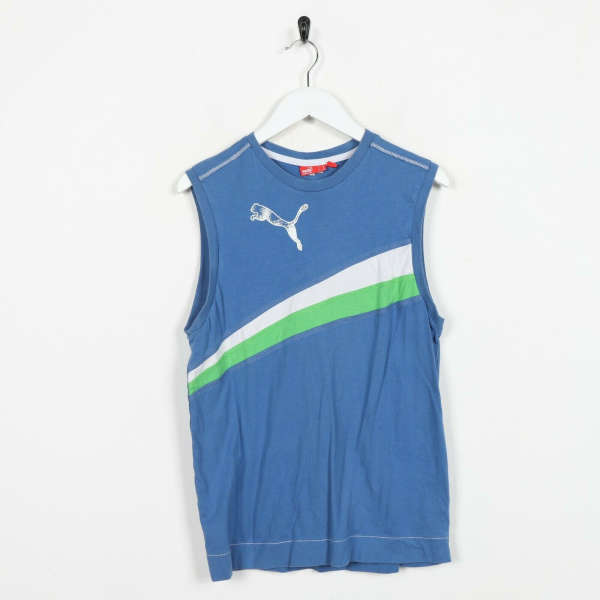Vintage PUMA Big Logo Sleeveless Vest T Shirt Tee Blue | Small S
