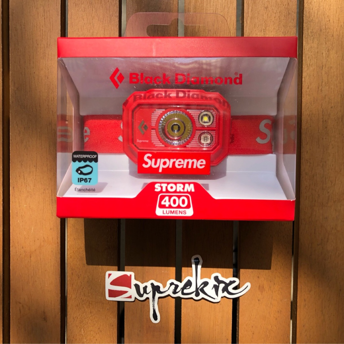 Supreme FW20 Black Diamond Storm 400 Headlamp Red