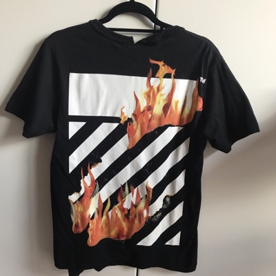 Off White Diagonal Fire Spliced Tee
