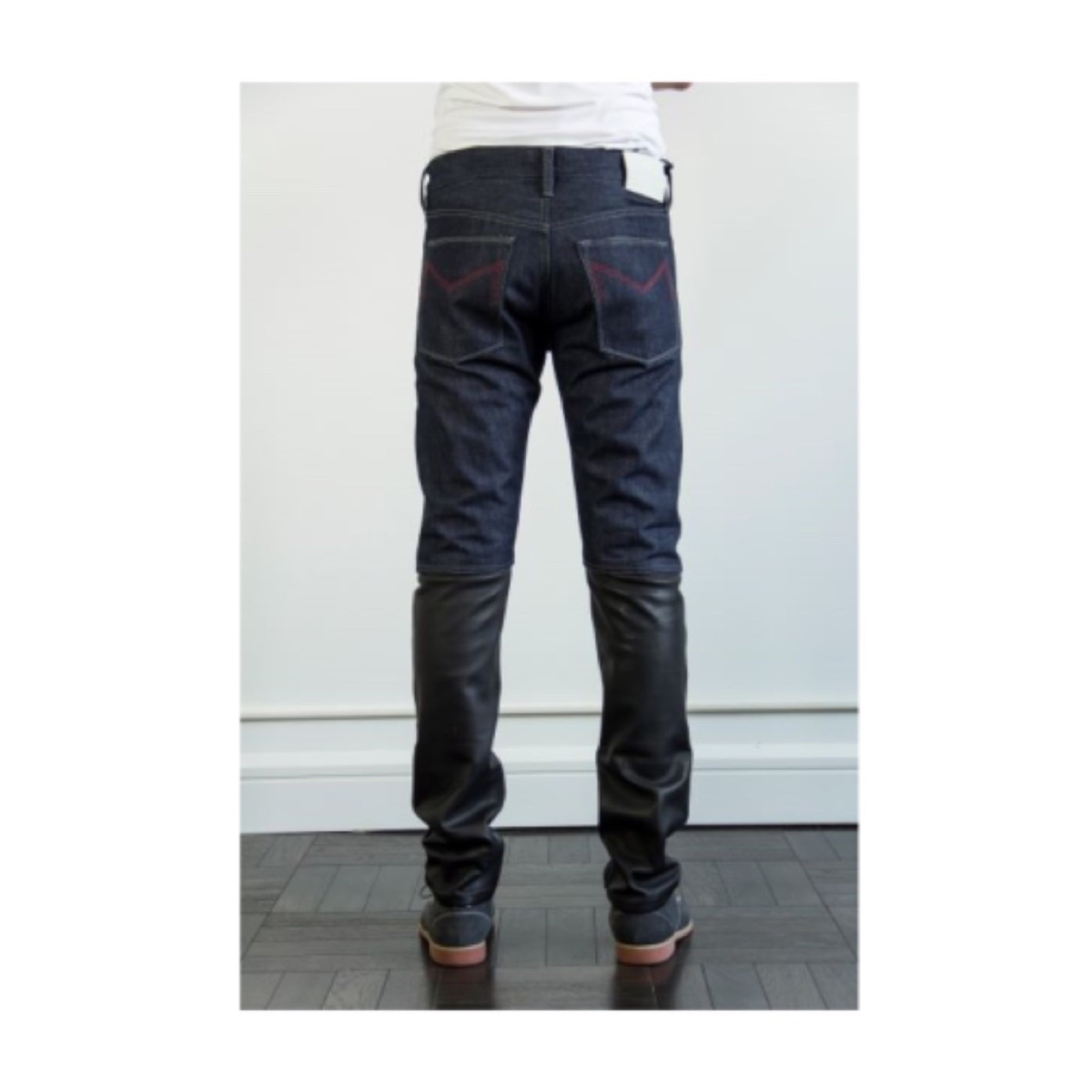 Leather Combo Slim Fit Mens Jean Made In USA