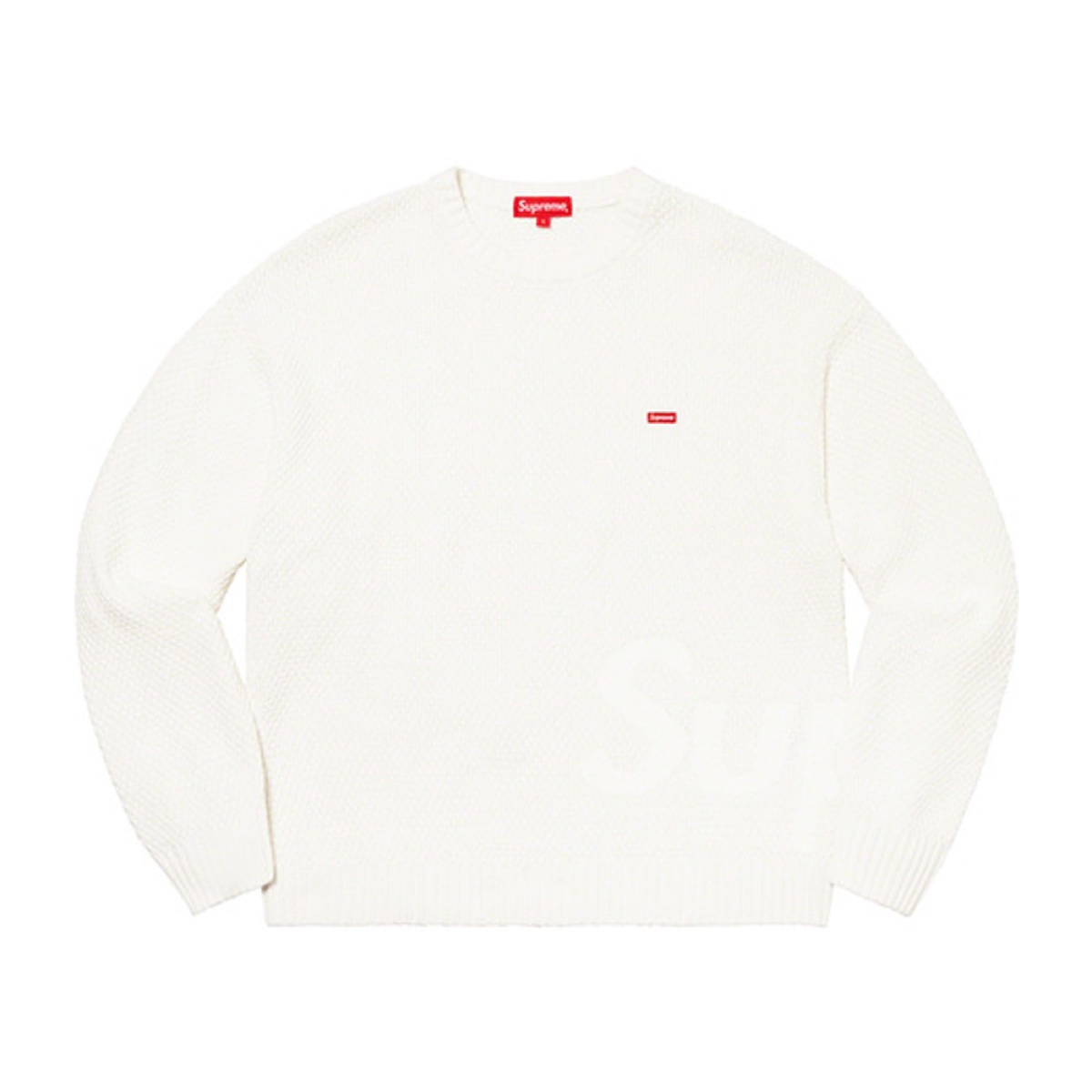 Supreme Textured Small Box Sweater White