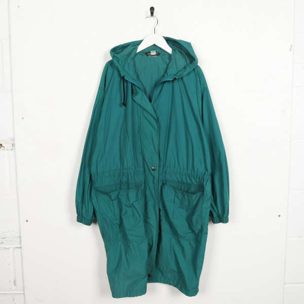 Vintage K-WAY Hooded Trench Coat Anorak Cagoule Green | Medium M