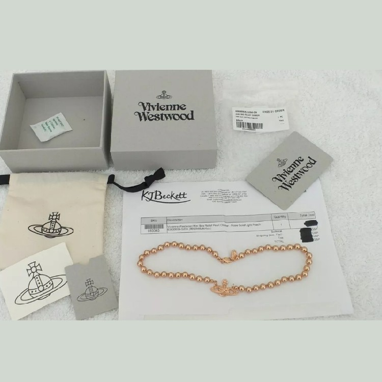 VIVIENNE WESTWOOD CHOKER PEARL BAS RELIEF LIGHT PEACH ROSE GOLD BOXED - NEW