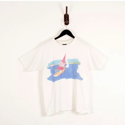 Vintage Polo Painterly Sailing Water Art T Shirt L