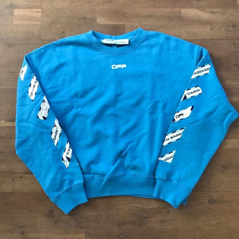 Off-White Blue Airport Tape Sweater