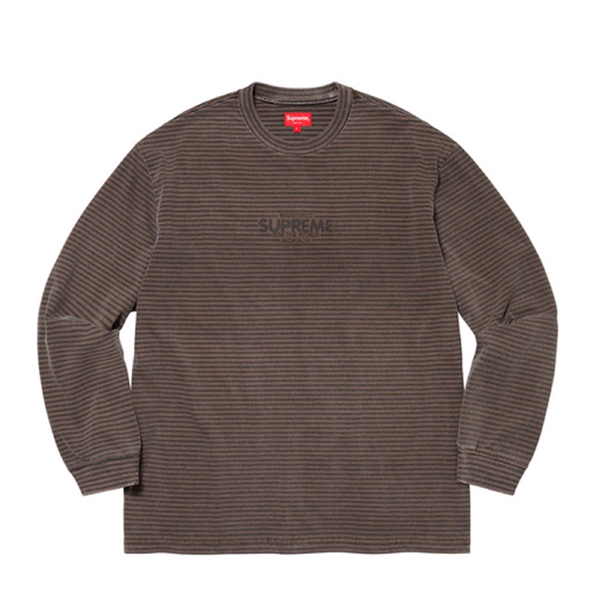 Supreme Micro Stripe LS Top Brown