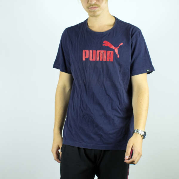 Vintage Puma t-shirt top blouse tee in navy blue