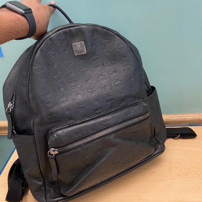 Mcm Ottomar Monogrammed Leather Backpack
