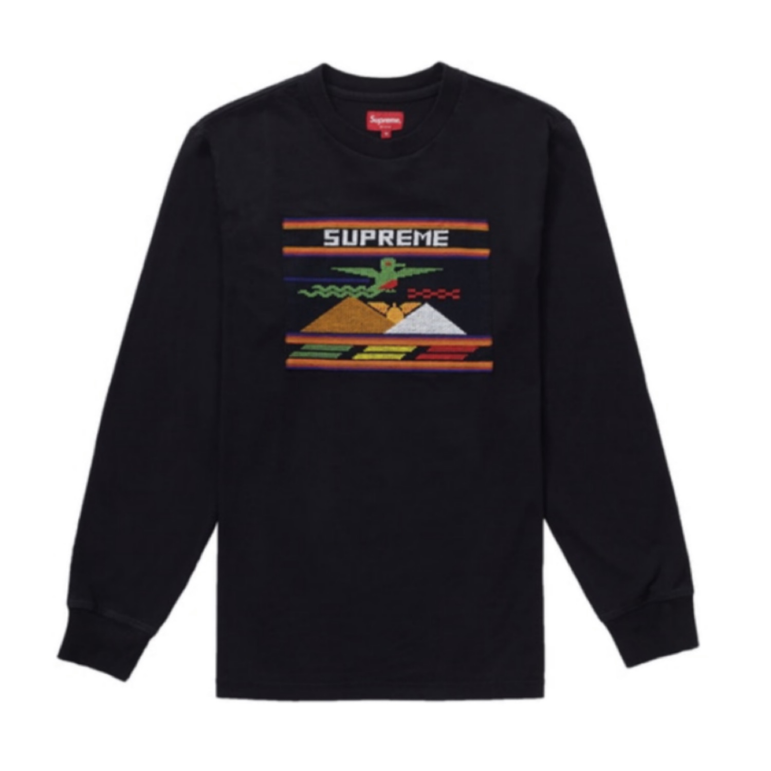Supreme Needlepoint Patch L/S Shirt Black