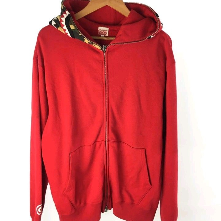 Bape Hoodies Red Cotton Shark Print Full Zip