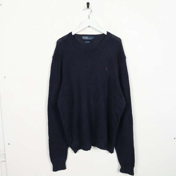 Vintage RALPH LAUREN Small Logo Knitted Sweatshirt Jumper Navy Blue Large L