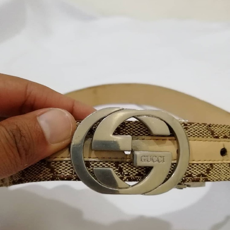 Vintage Gucci Monogram Leather Belt