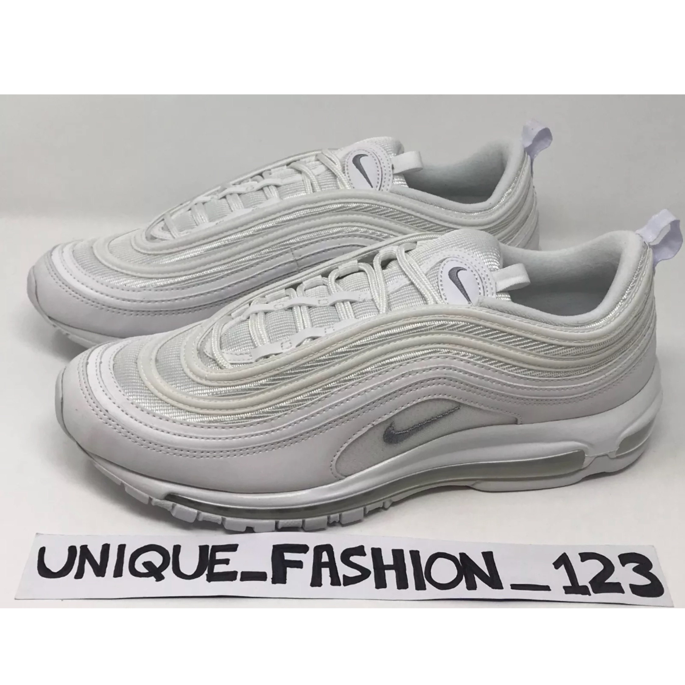 pretty nice 40fa7 478f7 Nike Air Max 97 Triple White Wolf Grey Us12