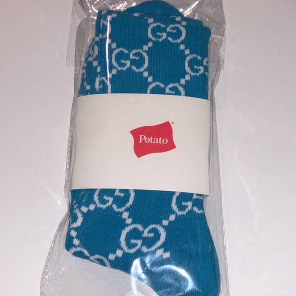 Imran Potato Socks White And Blue