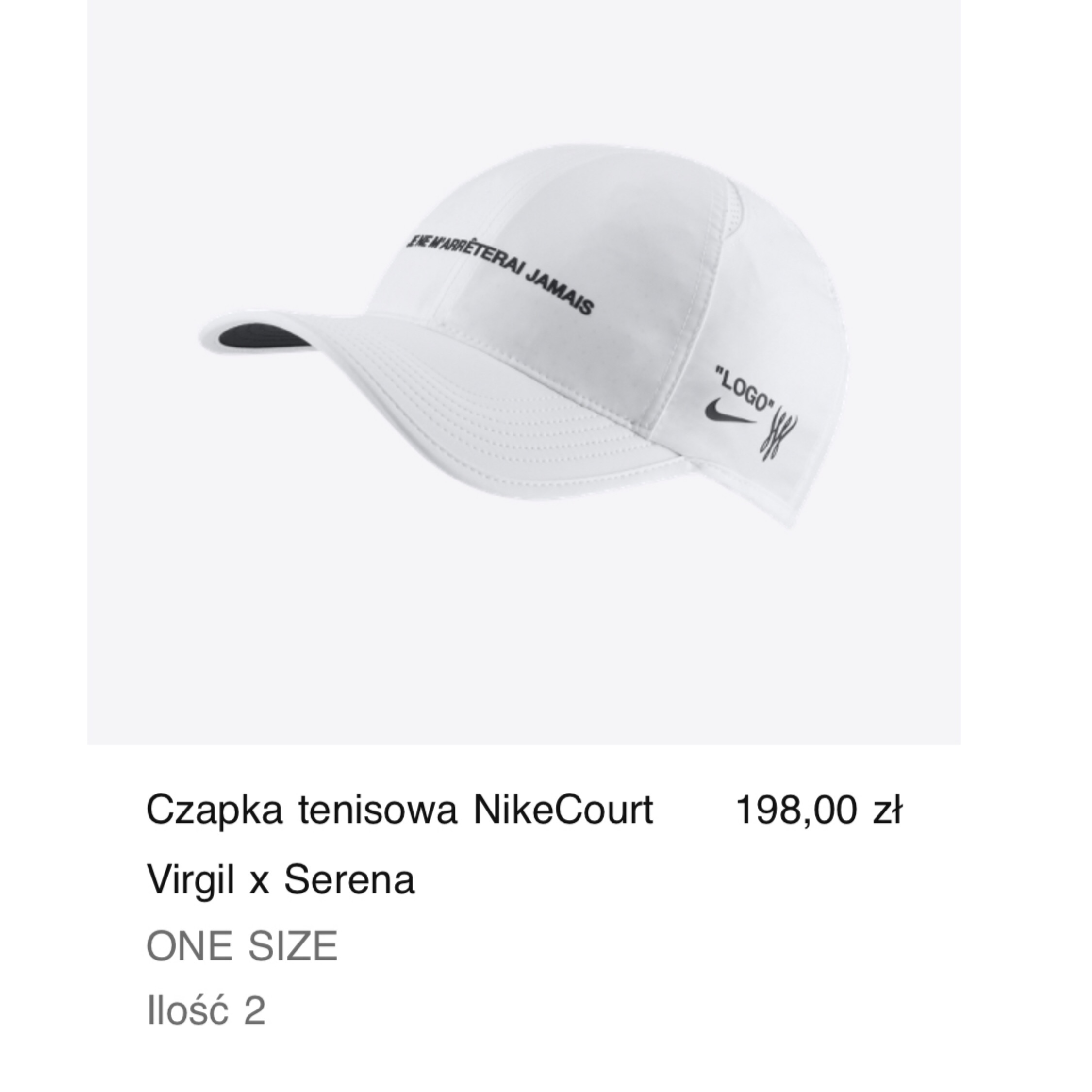 Nikecourt Virgil X Serena Cap Off-White