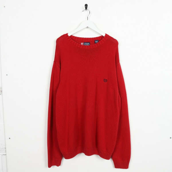Vintage CHAPS RALPH LAUREN Small Logo Knitted Sweatshirt Jumper Red | 2XL